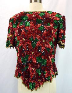 Laurence Kazar 100% Silk Christmas Poinsettia Flower Sequin Beads Trophy Top XL…