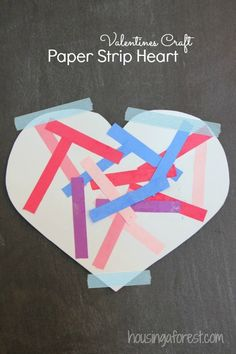 Paper Strip Heart ~ great for 1 step and two step directions, shape recognition and art independence.