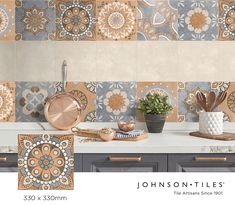 Encaustic inspired décor tiles are a fabulous way to bring old world charm into a modern space. Look no further than our Arena Vibes décor tiles, a soft concrete screed pattern with 8 faces on a 330x330mm sized tile from the Urban Collection. A perfect match with our Arena field tile in beige or grey. #tiledesign #decortiles #interiordesign #walltiles #floortiles #tiles #encausticdesign #urban Wall And Floor Tiles, Wall Tiles, Tile Patterns, Print Patterns, Johnson Tiles, Modern Spaces, Spanish Style, Glazed Ceramic, Tile Design
