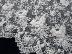 Exquisite Antique French Net Tiered LACE with ROSES Petticoat SKIRT  Vintageblessings