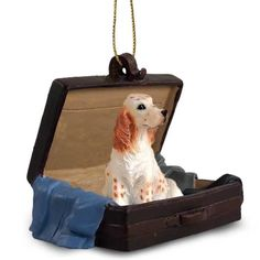 Hand Painted Belton Orange English Setter Traveling Companion in a Suitcase