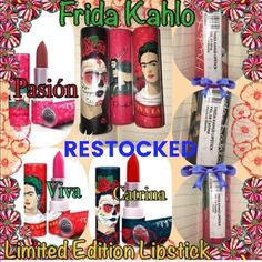 🎀🆕Frida Kahlo Lipsticks🎀 I was lucky enough to find a few of these beauties in a local boutique and just fell in love with them, both the colors as well as the tubes! I have 6 in Pasion,and 2 Viva, 2 in Colibri, 3 in Catrina and 1 in Inspircion. And I should be getting more today. This price is for one lipstick from here on out as I'm losing money on these💕💕 Sephora Makeup Lipstick
