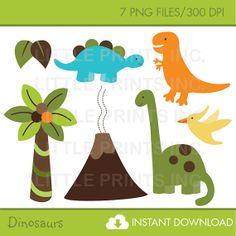 Dinosaur Clip Art INSTANT DOWNLOAD by LittlePrintsParties on Etsy, $5.00