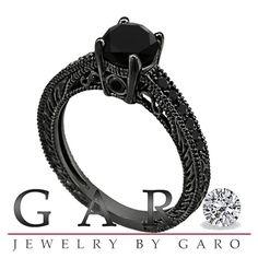 Fancy Black Diamond Engagement Ring Vintage Antique Style Engraved 14K Black Gold VVS1 1.35 Carat Certified Pave Set HandMade on Etsy, $1,290.00