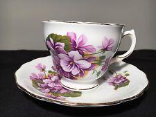 Vintage Royal Vale Tea Cup and Saucer Violets