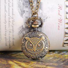 "1 Bronze Tone Necklace Chain Owl Quartz Pocket Watch 85cm(33-1/2"") B12982"