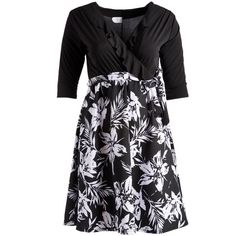 GLAM Black & White Floral Surplice Dress ($30) ❤ liked on Polyvore featuring plus size women's fashion, plus size clothing, plus size dresses, plus size, womens plus dresses, floral dresses, floral print dress, black and white plus size dresses and floral print long dress