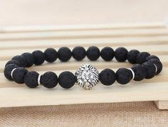 Fashion Men's Black Lava Rock Energy Silver Lion Elastic Beaded Bracelet 8mm S13 | eBay