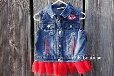 KC Chiefs Toddlers Girls Baby Denim Jacket Denim Vest Jean Baby Girl Converse, Toddler Converse, Baby Denim Jacket, Jean Vest, Red Fabric, Fabric Flowers, Red Jewel, Pink Tulle, Custom Made