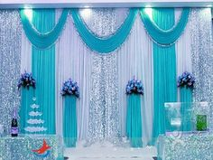 Milk White Wedding Backdrop Curtains Lake Blue Swag With Silver Sequin Fab. Milk White Wedding Backdrop Curtains Lake Blue Swag With Silver Sequin Fabric For Wedding Centerpieces Decor Suppl. Gazebo Wedding Decorations, Wedding Backdrop Design, Wedding Stage Design, Wedding Reception Backdrop, Backdrop Decorations, Centerpiece Decorations, Wedding Centerpieces, Backdrops, Church Wedding