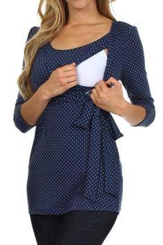 Wrap and Tie Polka Dot Print Sleeves Nursing Top - BellyMoms Maternity Nursing Wear, Nursing Dress, Nursing Tops, Nursing Clothes, Maternity Wear, Maternity Dresses, Maternity Fashion, Breastfeeding Fashion, Breastfeeding Clothes