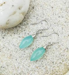 Aqua Blue Chalcedony Earrings in Sterling Silver / Gift for Her / Something Blue For Bride / Chalcedony Gemstone Earrings / Bridesmaid Gift Bridesmaid Earrings, Bridesmaid Gifts, Gemstone Earrings, Drop Earrings, Handmade Jewellery, Unique Jewelry, Silver Gifts, Blue Chalcedony, Aqua Blue