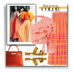 """""""Orange"""" by arethaman ❤ liked on Polyvore featuring Tory Burch, Barneys New York, Rosie Assoulin, orange and howtowearcolour"""