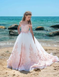 Ivory pink lace couture flower girl party holiday birthday Fashion Kids, Girls Dresses