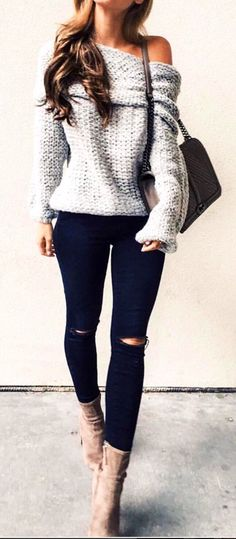 #winter #outfits white knit off-shoulder long sleeve dress #winteroutfits