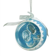 Noble Gems Blue Baby Boys 1st Christmas Glass Ball Ornament with Booties