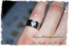 Heart Chevalier Ring Sterling Silver 925 white Gold-plated Jewelry with black Rhinestone Crystal - One Size (Open Ring) Order Code: 01C25w FREE Shipping Worldwide!!! All products are protected in Luxury Gift Package Lakasa eShop Jewelry - Fine Greek Art Follow us on Facebook