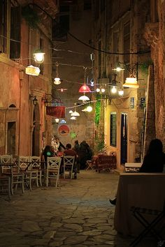 Greece Travel Inspiration - Chania Old Town by night Crete