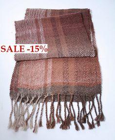 Weave Handwoven scarf SALE blanket wool scarf Rustic unisex scarf cozy scarf striped scarf weiving on handloom (68.00 USD) by Walezhnik