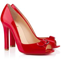 Christian Louboutin Openbelt 100mm Red Patent Leather Peep Toe Pumps
