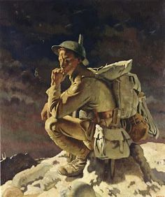 The Thinker - On the Butte of Warlencourt by Irish painter Sir William Orpen (1878 - 1931)