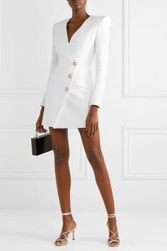 10 of the most beautiful short wedding dresses. Satin Dresses, Bridal Dresses, Short Frocks, Balmain Dress, Tuxedo Dress, Business Dresses, White Business Dress, Little White Dresses, Street Style