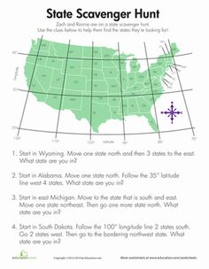 Fourth Grade Geography Worksheets: State Scavenger Hunt Add more questions for middle school. Geography Worksheets, Social Studies Worksheets, Geography Lessons, Teaching Geography, Social Studies Activities, Teaching Social Studies, Teaching History, Student Teaching, 5th Grade Geography