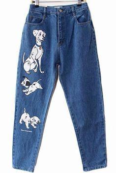 Blue Spotted Dog Print Denim Pant