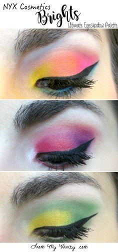 Looks created using the NYX Cosmetics Brights Ultimate Eyeshadow palette