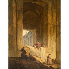 """Hubert Robert, """"Personnages dans une baie à Saint-Pierre de Rome"""", 1763, Valence, Musée de Valence"""