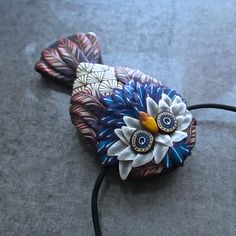 White Mask Owl Sculpted Millefiori Pendant/Brooch by Deb Hart on Etsy