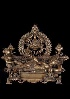 """Bronze Laying Parvati with Ganesha & Murugan 16"""""""