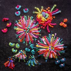 Embroidered colourful flowers