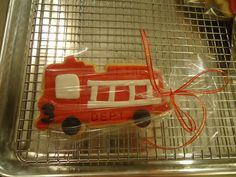 Fire truck cookies for a little boys birthday party>