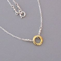 Tiny Gold Hammered Circle of Life Sterling Silver by DJStrang