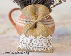 Candy Favor Bag Wedding Burlap Gift Bag Bridal Shower by Teomil