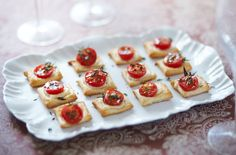 Bursting with sweet tomato flavour and salty halloumi cheese. These  are the perfect canapé for a spring garden party.