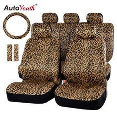 """Autoyouth lujo leopard print cubierta de asiento de coche universal fit pad del cinturón de seguridad, y 15 """"universal volante del coche asiento protector"""