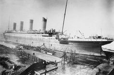 the RMS Titanic nearing the end of her fitting.