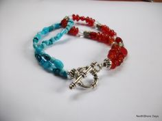 Cute two tone bracelet with toggle clasp : with tutorial