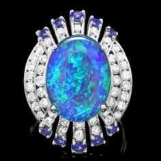 14k White Gold 5.00ct Opal 1.55ct Diamond Ring.