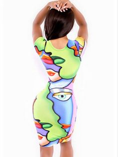 Slim Round Collar Face Printing Short Sleeve Dress_European style_Wholesale clothing from China fashion online shop. Cheap Korean fashion clothes, high heels shoes, T shirts, dresses and clothing on sale.
