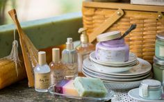 Collection of Sabon Products for Summer.   From left: Body Dew, Glycerine Soap, Body Oil, Sorbet (Violet), Aloe Vera Moisture Lotion.