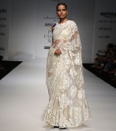 Ivory Embroidered Lace & Net Saree