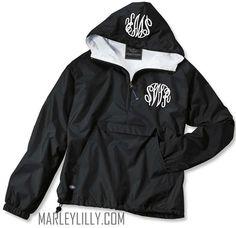 Monogrammed Black Pullover Rain Jacket - Marley Lilly - $47.99