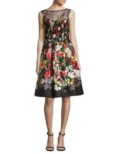 Teri Jon by Rickie Freeman - Embroidered Floral-Print Dress Lord & Taylor, Flare Skirt, Floral Prints, Floral Motif, Designer Dresses, Lace Dress, Party Dress, Style Inspiration, Summer Dresses