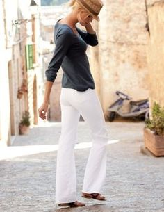 casual. white jeans from boden