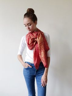 Orange+Fine+Silk+Gold+Speckled+Flaco+Scarf, $65.00