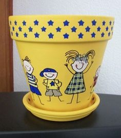 Hand Painted Whimsical Terra Cotta Flower Pot Depicting Stick Drawn Children