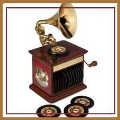 The Classic Christmas Song Gramophone  --  Recalling the record-playing phonographs from days of yore, this is the digital gramophone that plays classic Christmas songs performed by renowned musicians including Here Comes Santa Claus by Bing Crosby, Winter Wonderland by Louis Armstrong, and Let it Snow by The Temptations. Other songs include The Temptations melding all five harmonies on Silent Night, James Brown's bluesy version of The Christmas Song, and Eartha Kitt's Santa Baby.
